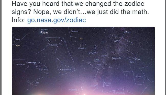 NASA発表、黄道12宮⇒13宮に。