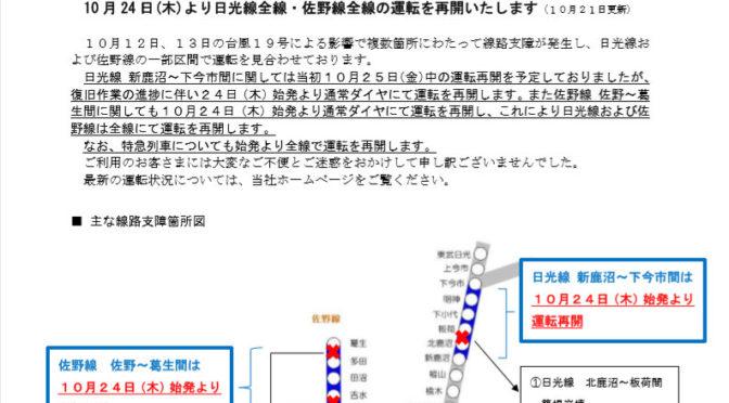 東武日光線、復旧!!